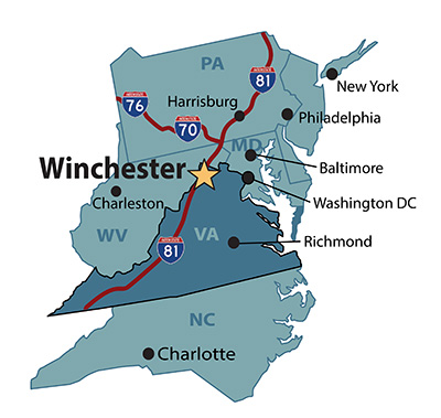 Map & Directions - Visit Winchester Virginia Chester Virginia Map on chester county pa, chesterfield county map, james river richmond va map, chester wv, chester uk, chester mt, chester state park, chester w va,
